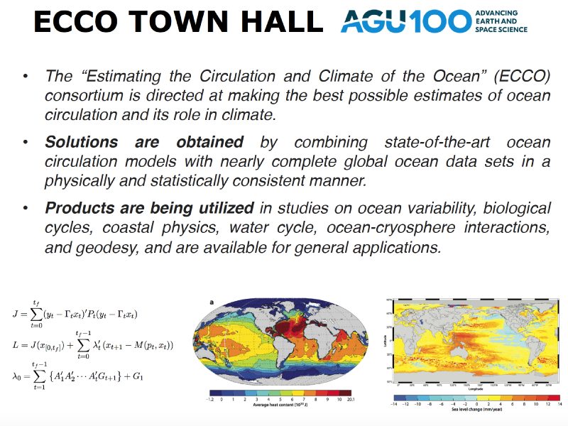 Presentation title page: Estimating the Circulation and Climate of the Ocean (ECCO) Town Hall: The Latest Global Ocean and Sea Ice State Estimate from the ECCO Consortium