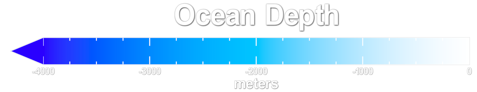 Ocean depth colorbar from white at the surface to cyan at 2000 meters deep to blue at 4000 meters deep